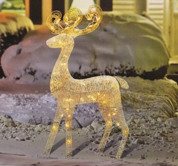 Elegant Glittered White Reindeer For Outdoor Christmas Decoration