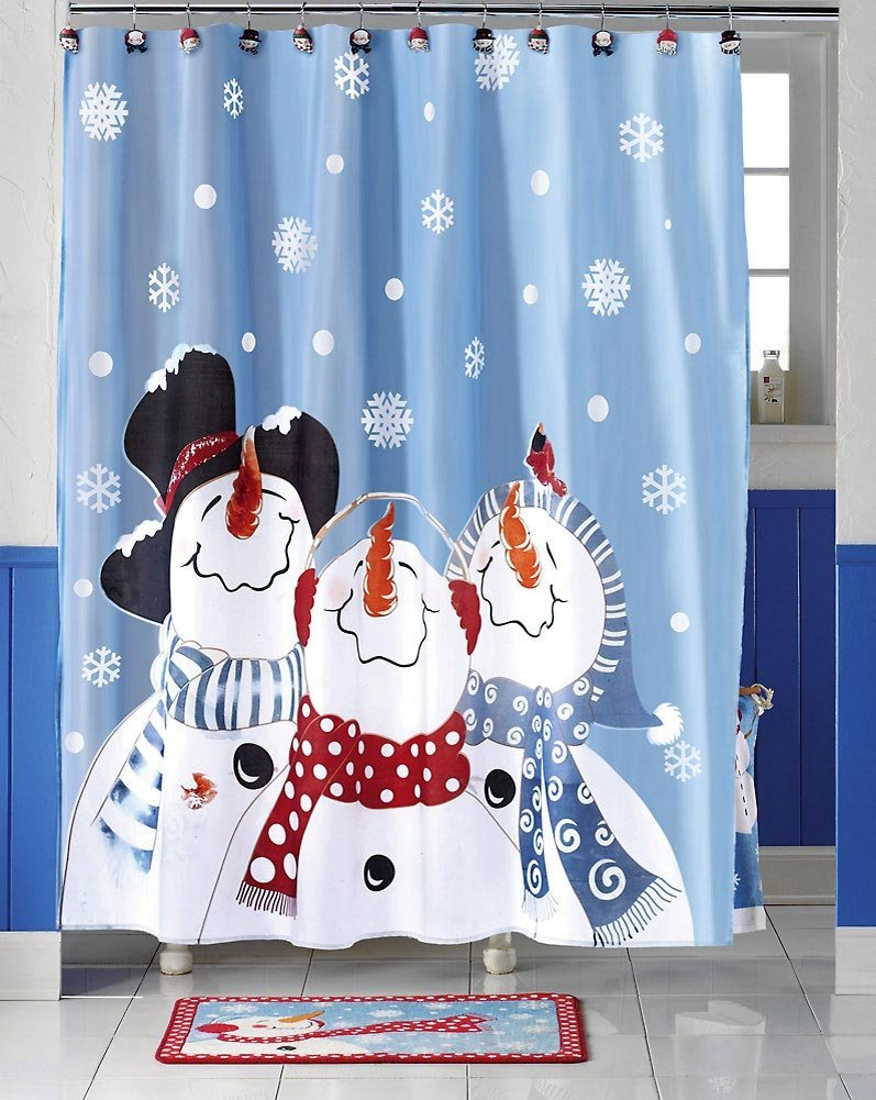 Frosty Friends Snowman Christmas Holiday Bathroom Curtain