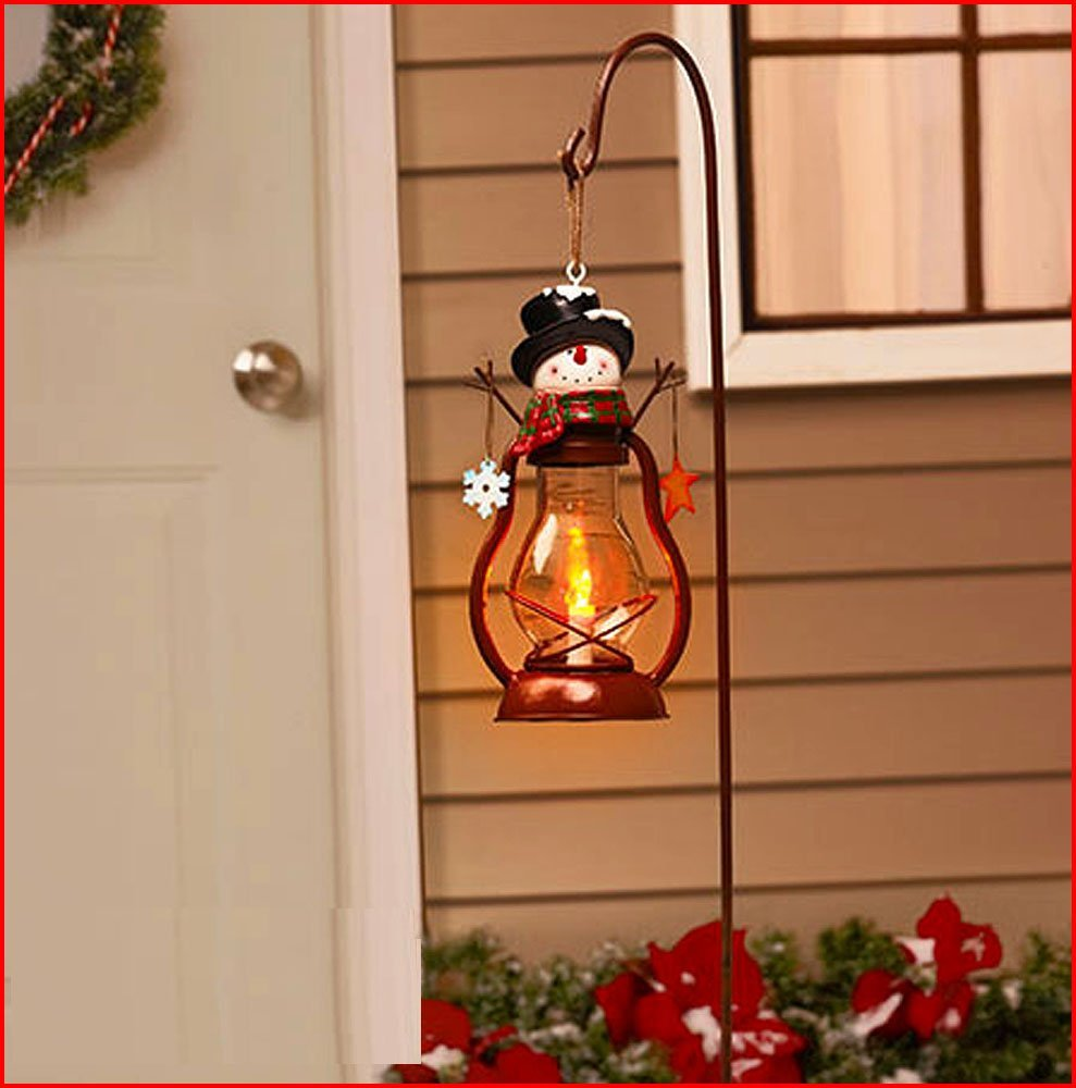 Holiday Solar Snowman Lantern Stake Chirstmas Decoration