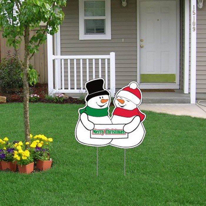 Homemade Merry Christmas Snowman Lawn Decoration