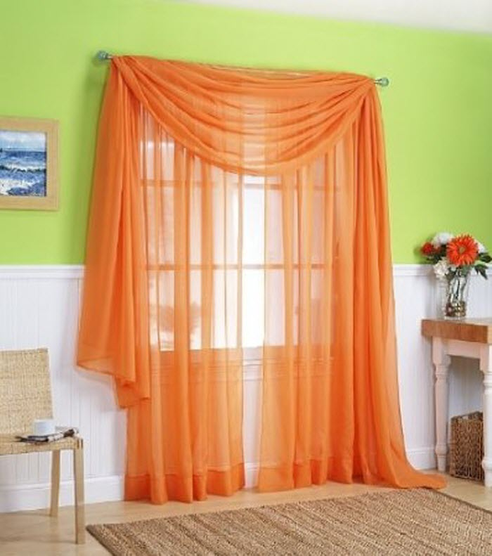 Orange color curtain pattern