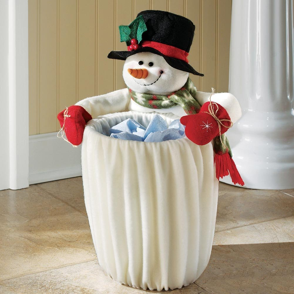 Plush Fleece Snowman Garbage Can Slip for Christmas