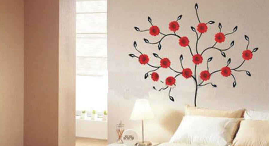 Red Flower Tree  Wall Decoration