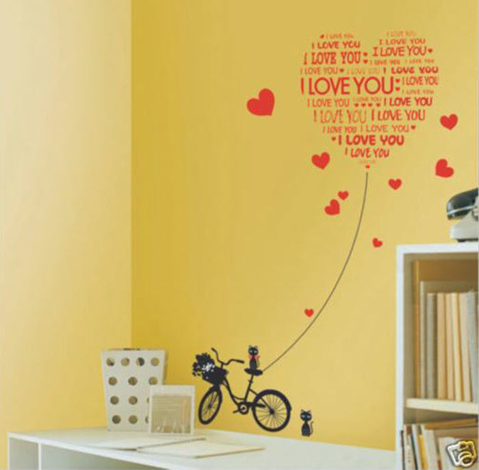 Red Heart Shape Wall sticker