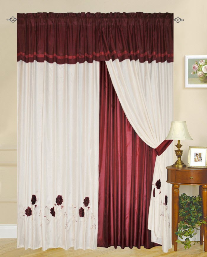Genial Red And White Curtain Design