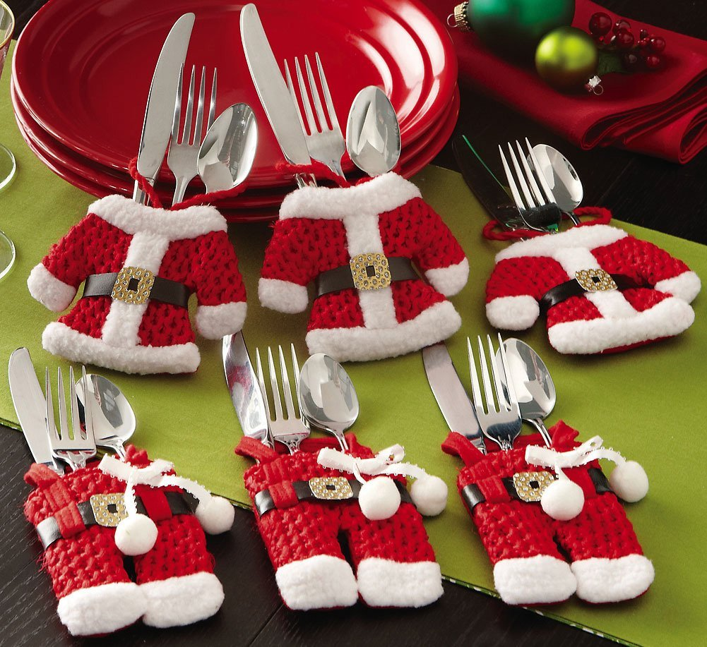 Santa Suit Christmas Silverware Holder for Christmas Decoration