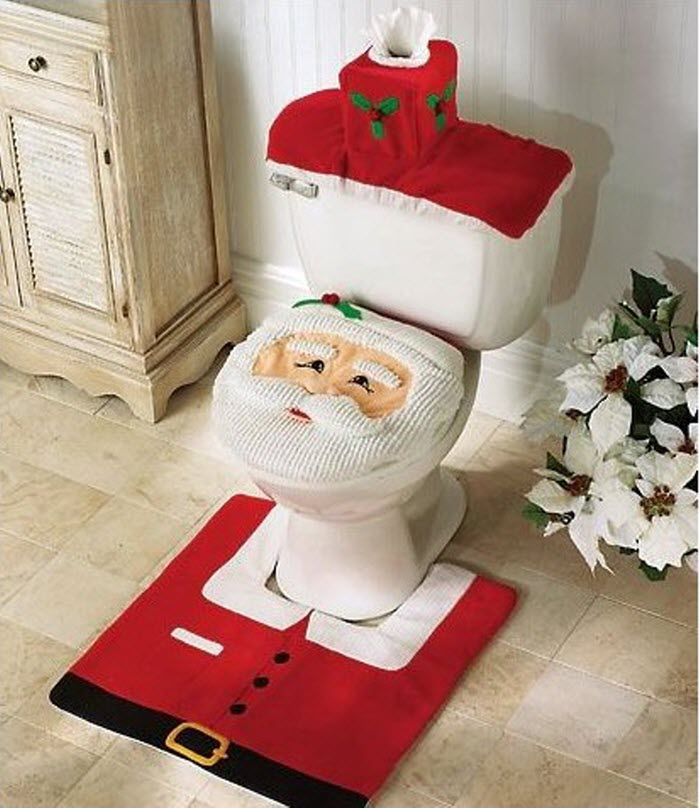 Santa Toilet seat cover & Rug Set for Christmas Bathroom Decoration