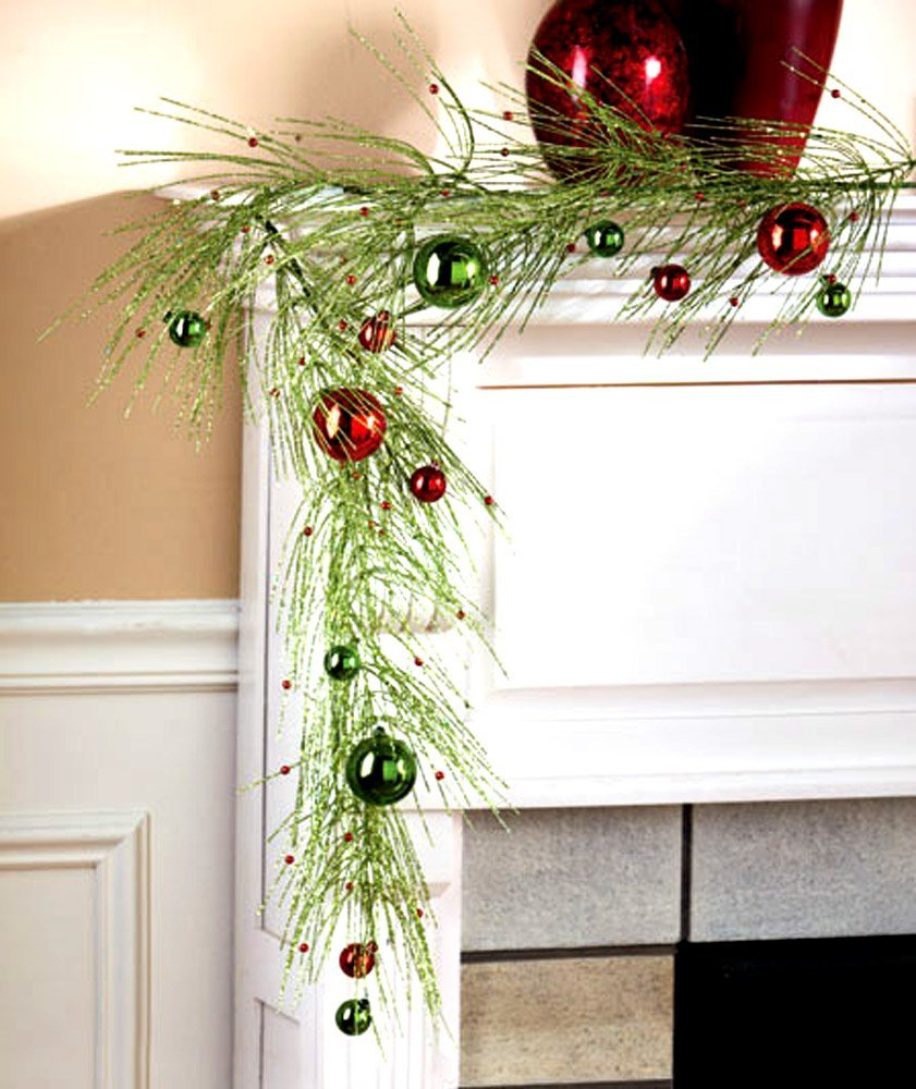 Sparkly Pine Garland Decoration For Fireplace on Christmas