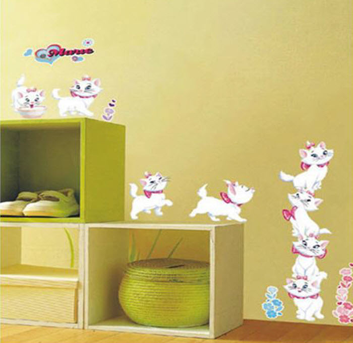 White Cats Wall Sticker for Kids