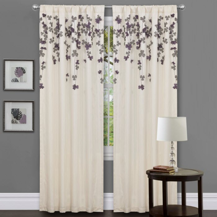 White curtain with grey flowers