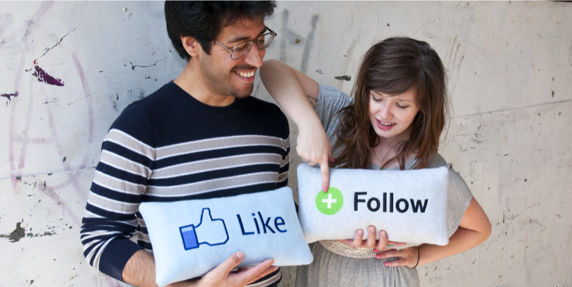 follow like facebook pillow