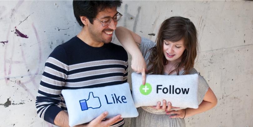 follow like facebook pillow