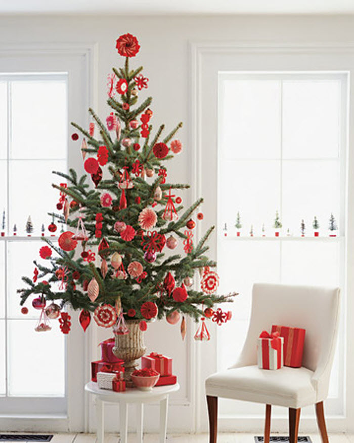 A Red and White Christmas Tree Decoration