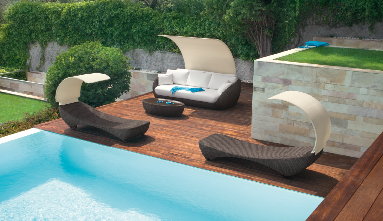 Beautiful outdoor living furniture home designing for Outdoor poolside furniture
