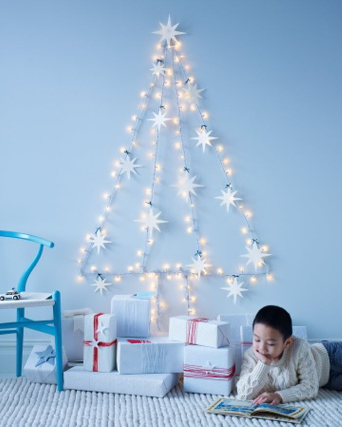 String-Light Wall Tree With Felt Star Ornaments