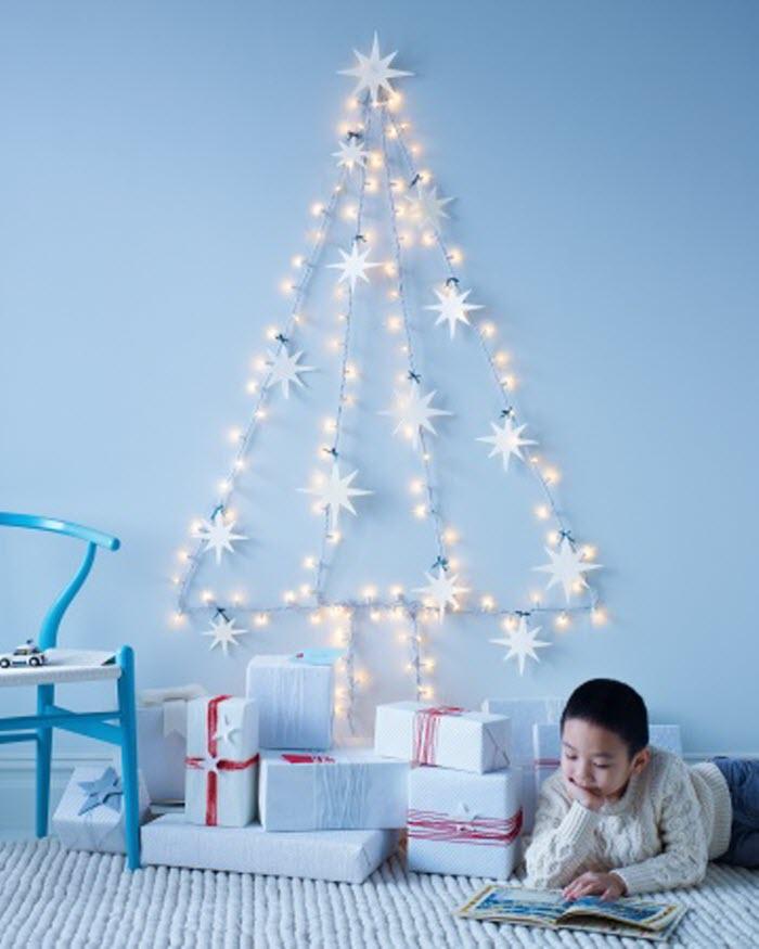 String-Light Wall Tree With Felt Star Ornaments