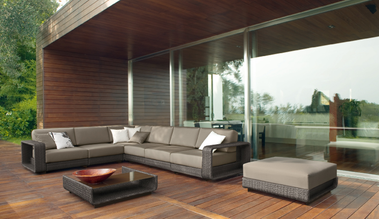 Web Themed Brown Outdoor Living Sofa