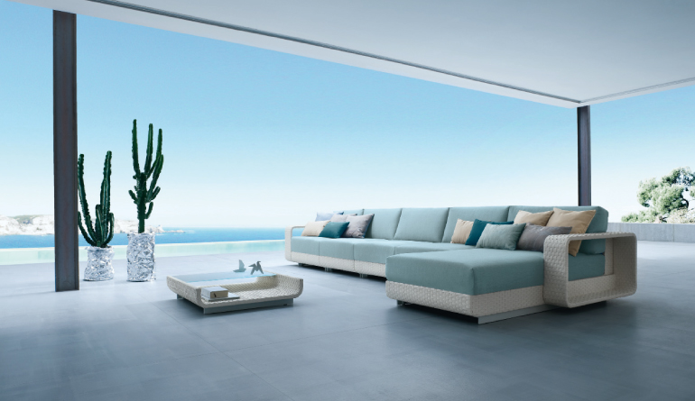 White And Blue Outdoor Living Furniture