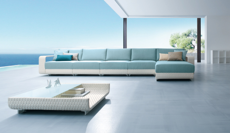 White And Blue Outdoor Living Sofa