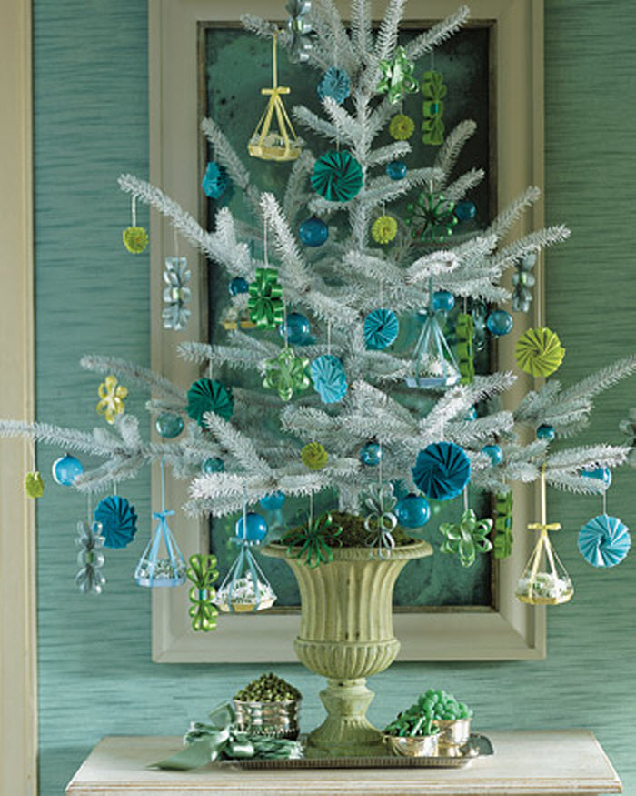 White Tree with Hanging-Basket Ornaments