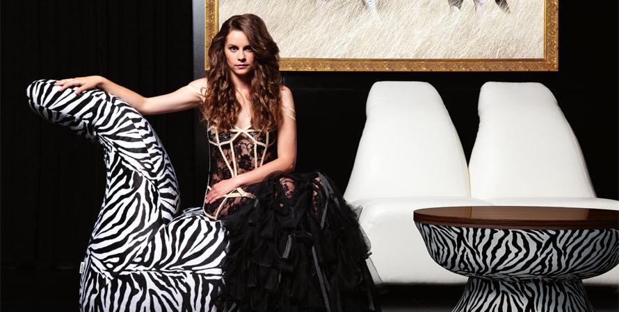 White and Black Zebra Sofa Designs