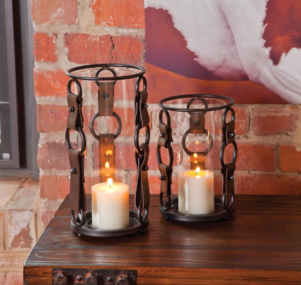 Candle Holder with Leather Straps