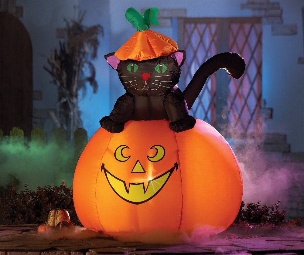 Outdoor inflatable halloween decorations - Casper Cat Halloween Lighted Outdoor Inflatable Halloween Garden Decoration Ideas Home Designing