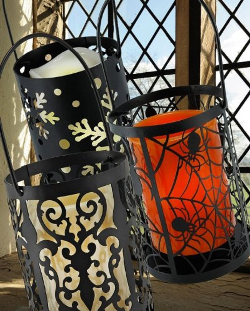 Flameless LED Hanging Lantern in Spider Web with Timer Lights Outdoor Indoor HALLOWEEN Party Decorations