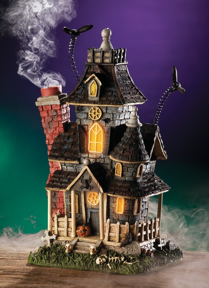 Haunted Smoking Mansion Lighted Halloween Incense Burner By Collections Etc