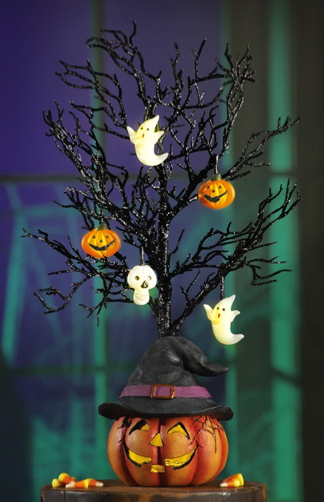 Lighted Black Glitter Halloween Tree Decoration