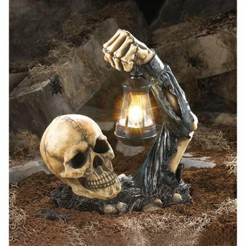 Skull with Lantern Halloween Garden Decoration