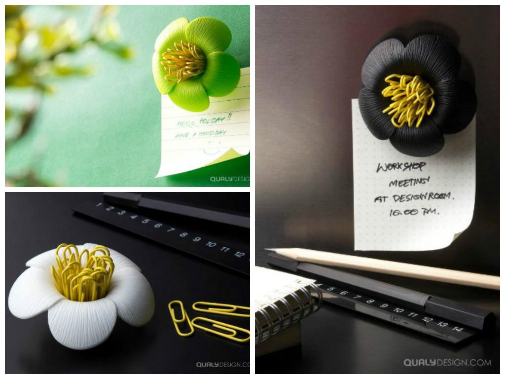 Blossom Flower Magnetic Paper Clips Holder