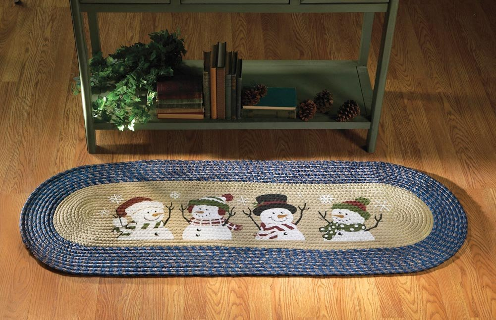 Blue Snowman Rug for Christmas Decorations