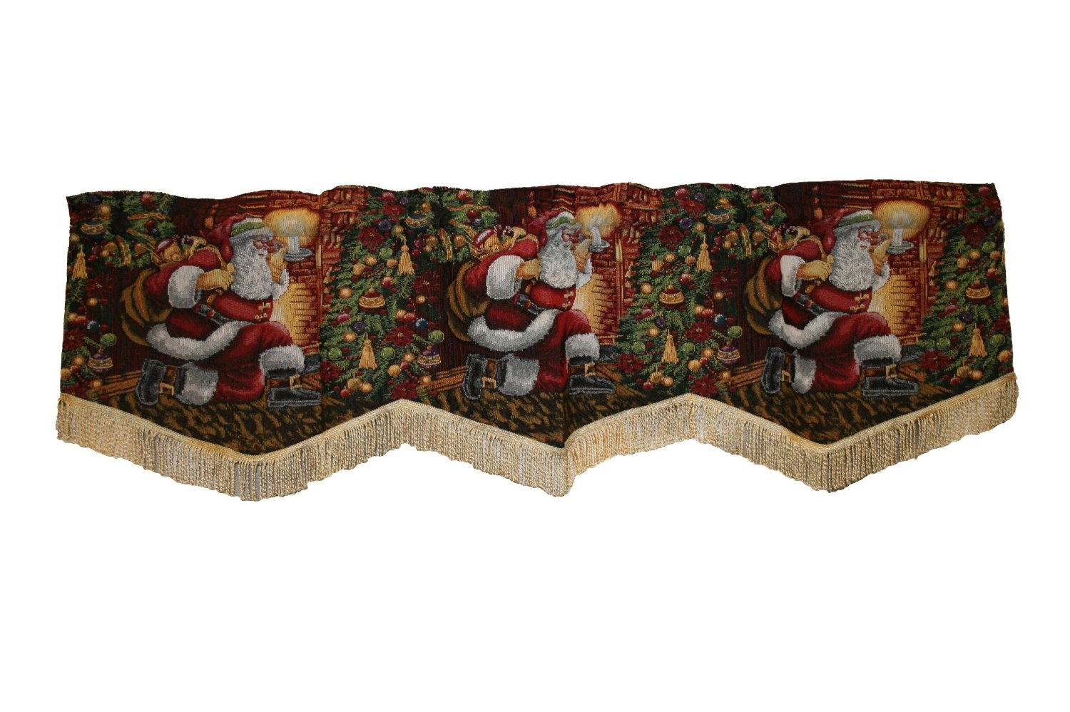 Christmas Santa Claus Design Window Valance