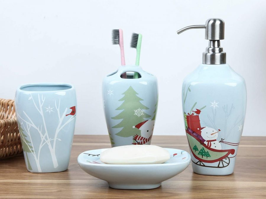 Christmas Snowman Ceramic Bathroom Accessories Set