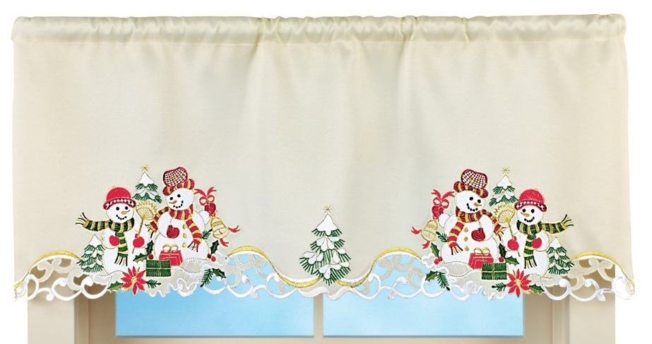 Christmas Snowman Couple Window Valance