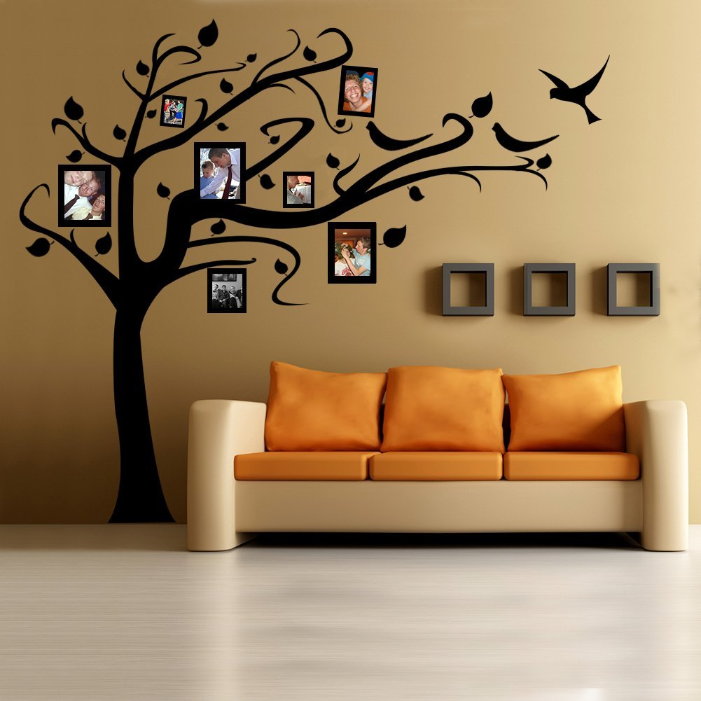 Beautiful family tree wall decal ideas home designing for Como dibujar un mural en la pared