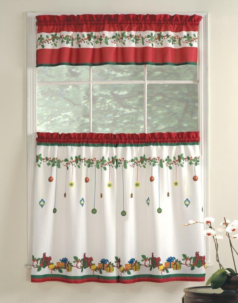 Holly curtain tie backs Find this Pin and more on Christmas Curtains by Charles Parsons Interiors. Christmas curtains, tie back with some holly and berries. Christmas time has to do with a cozy ambiance, the smell of candy and the right decoration in every room of the house.