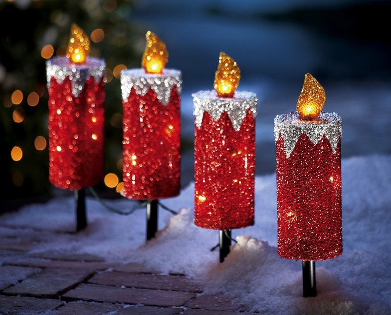 Red Glitter Holiday Candle Outdoor Christmas Path Light