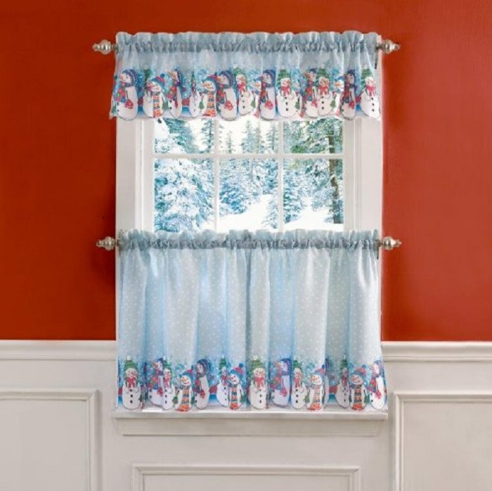 Rows of Snowmen Christmas Ensemble Curtain