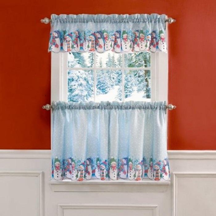Rows of Snowmen Christmas Ensemble Curtain