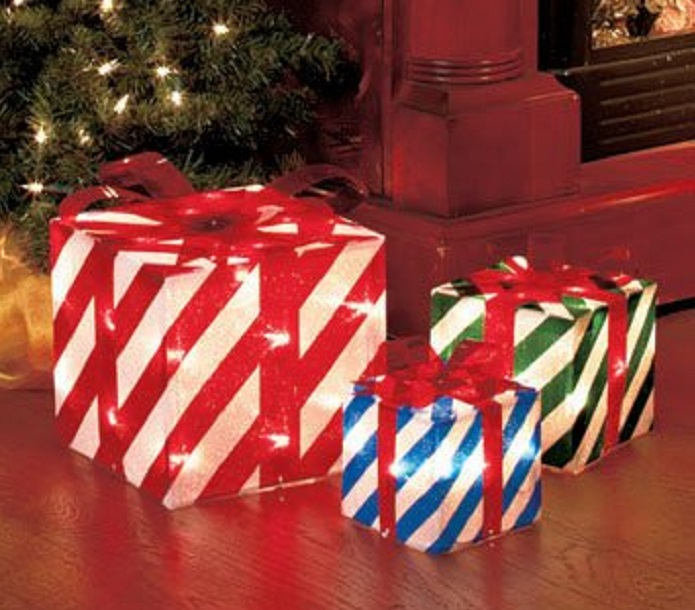 Set Of 3 Lighted Gift Boxes Stripes Red Green Blue Yard Decoration