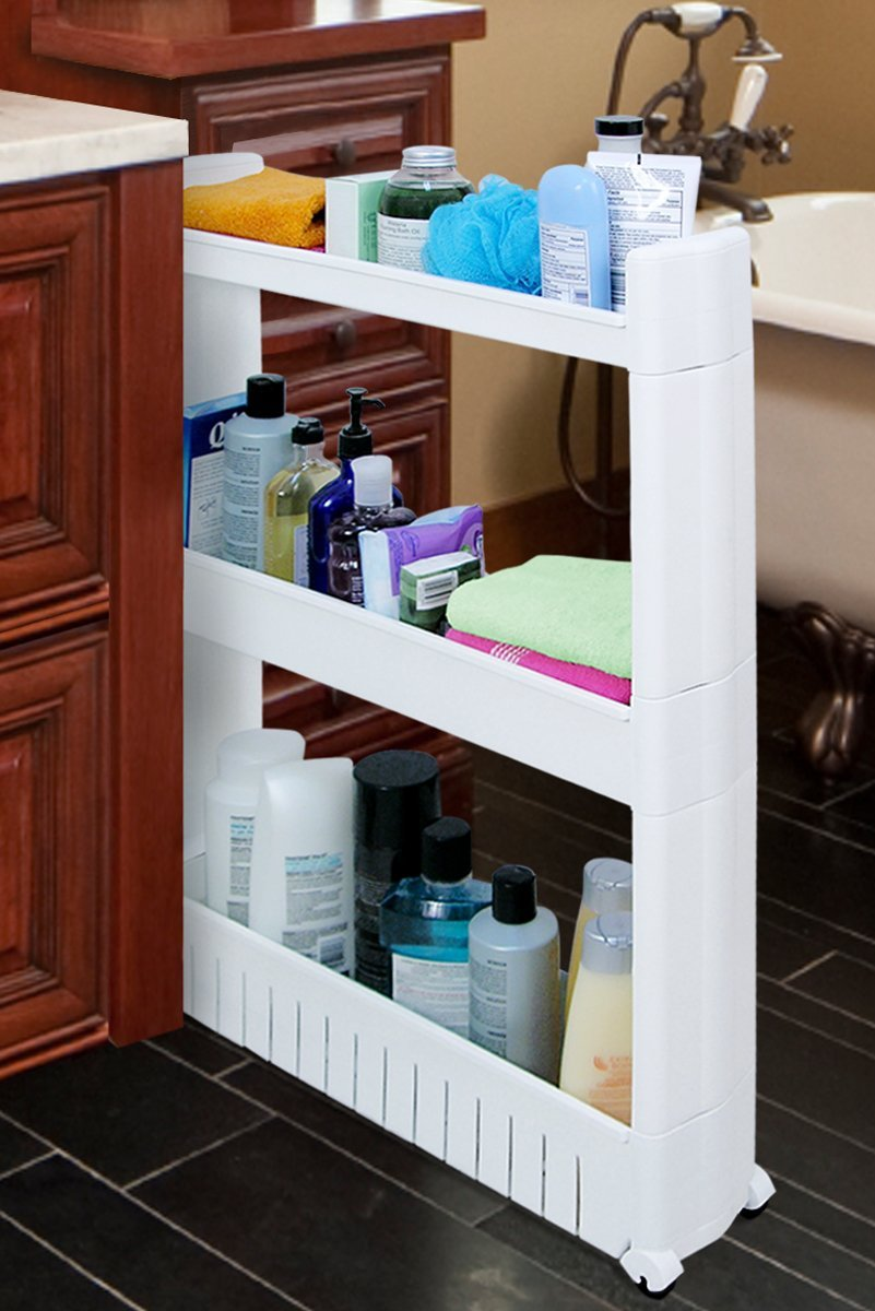 Slim Slide out Storage Tower for Bathroom