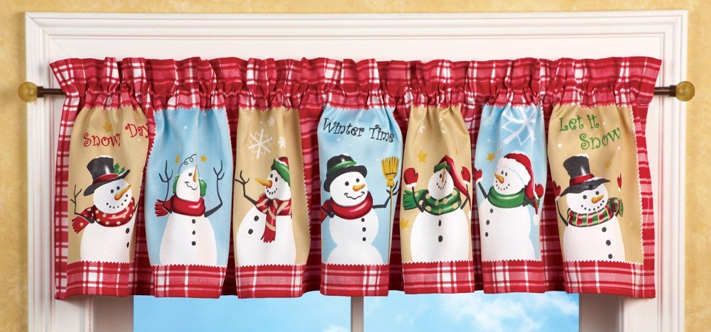 Snowman Christmas Checkered Window Valance