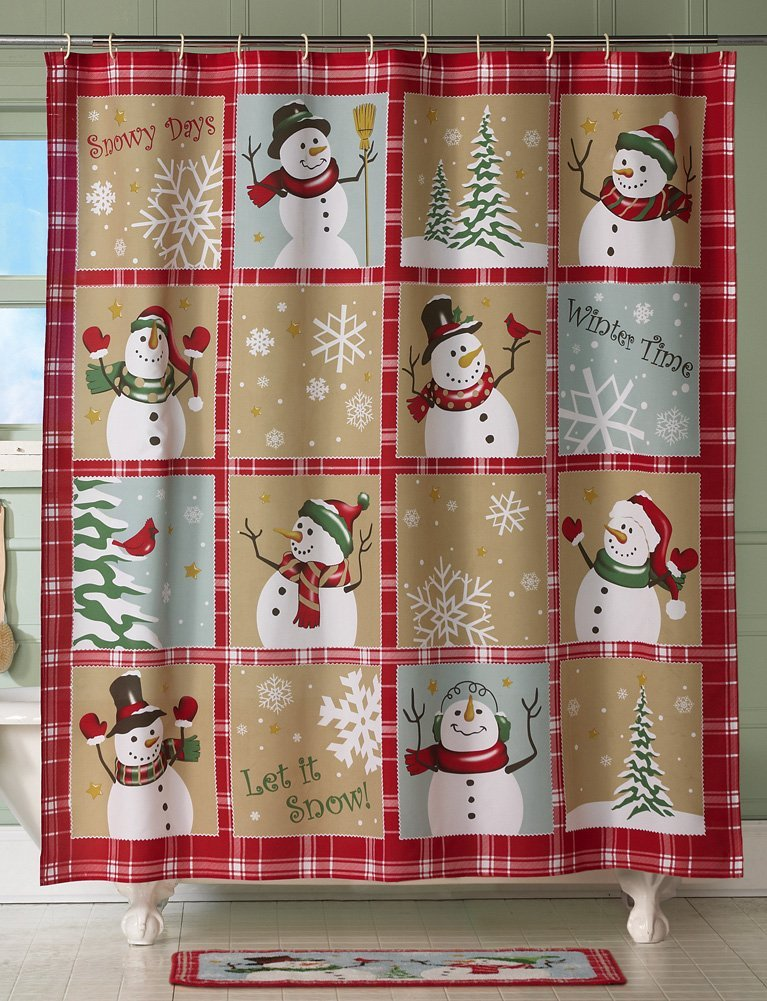 Snowman Christmas Holiday Shower Curtain
