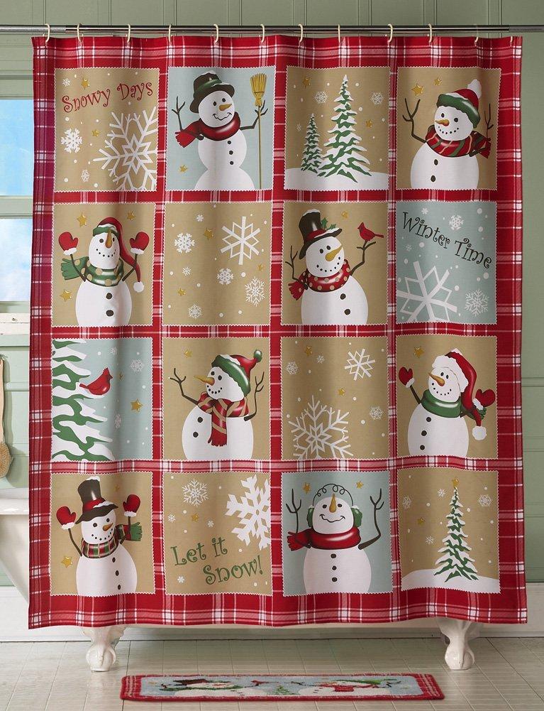 Snowman Christmas Holiday Shower Curtain