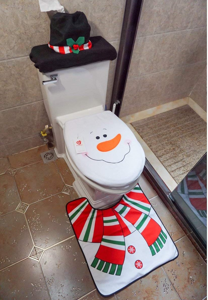 Snowman Santa Toilet Seat Cover and Rug Set