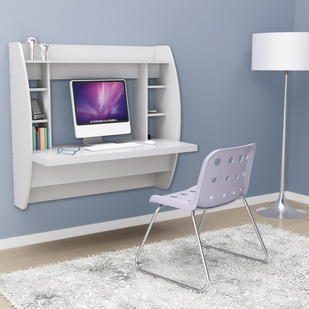 White Color Floating Desk with Storage for Compact Area