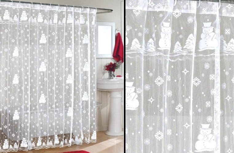 White Shower Curtain for Christmas