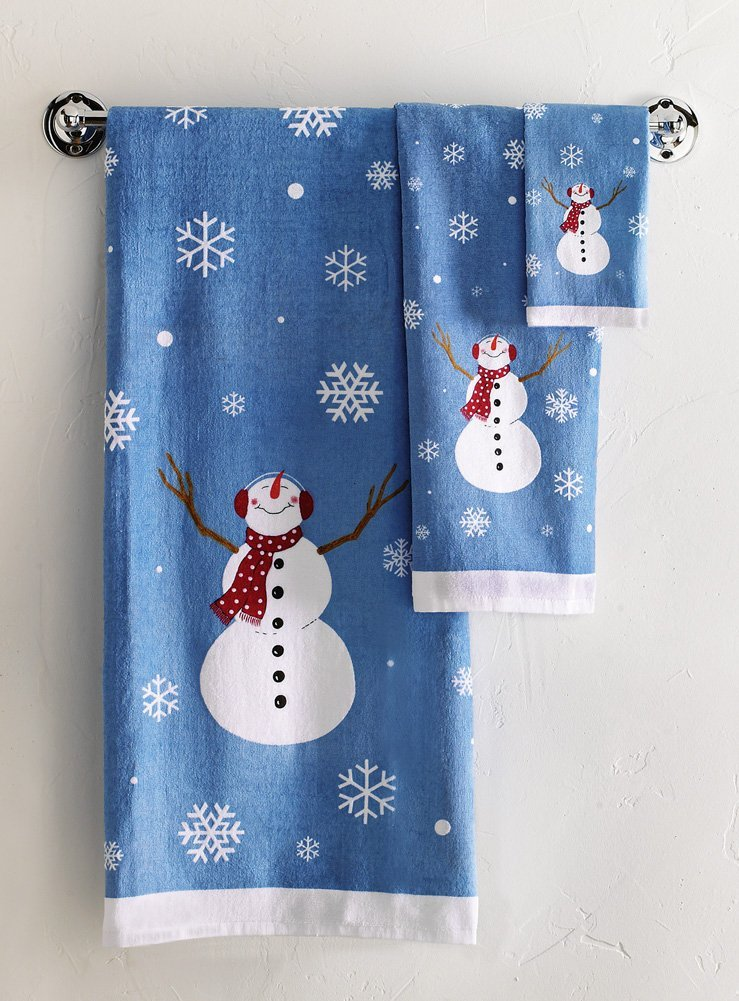 Winter Snowman Bathroom Towel Set for Christmas